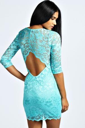 boohoo Nina Scallop Detail Open Back Lace Bodycon Dress - mint, mint £22.00 by boohoo.com