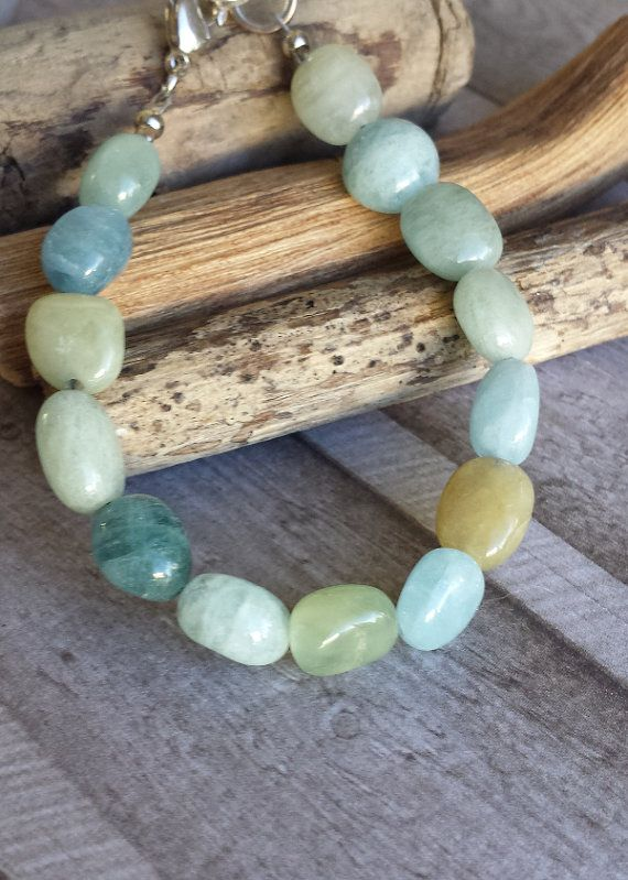 Aquamarine bracelet-green blue and brown stones in by Cicadella