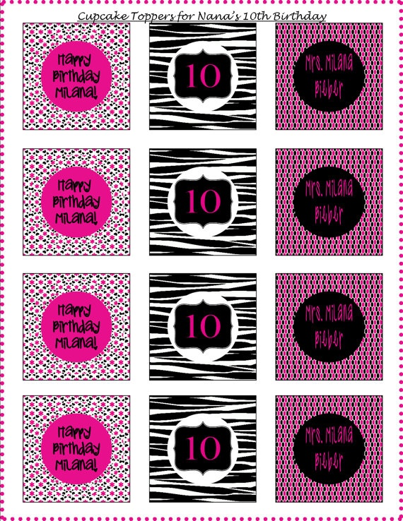 Pink & Black Tween Birthday Printable Party Package by ZDesignsbyRosina,  - Includes Cupcake Wrappers & Toppers, Banner, & Thank You Tags