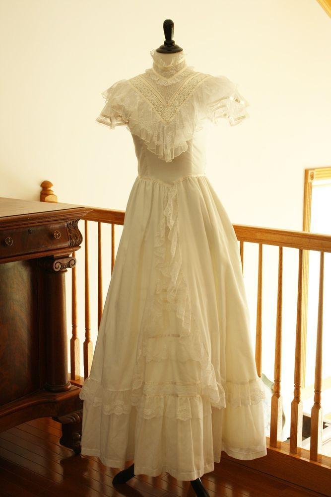 jessica mcclintock wedding dress vintage 1990s victorian xs s white cotton