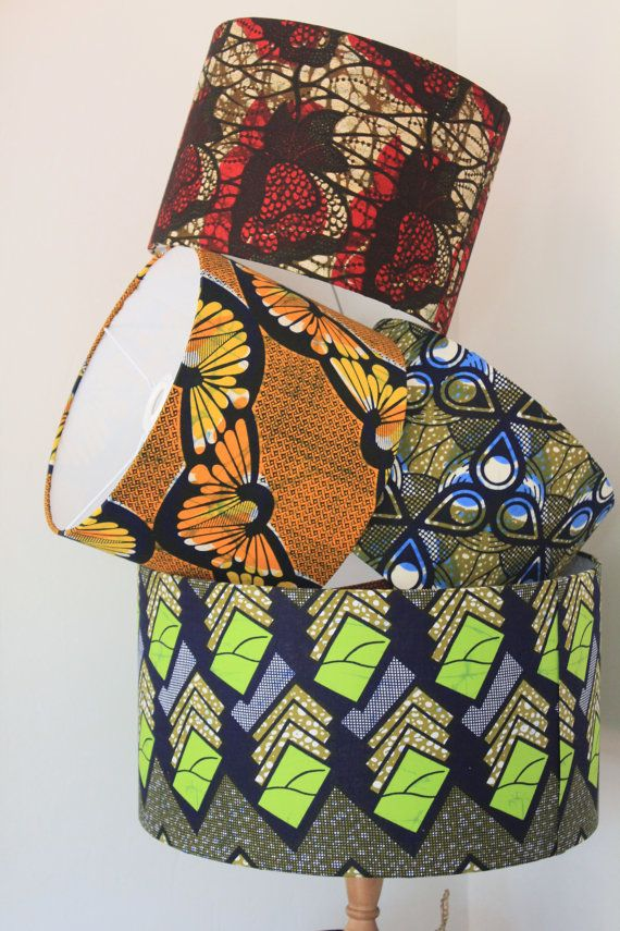 Large African Print lampshade/Ceiling pendants by lanyeroafrochic ~African fashion, Ankara, kitenge, African women dresses, African prints, Braids, Nigerian wedding, Ghanaian fashion, African wedding ~DKK