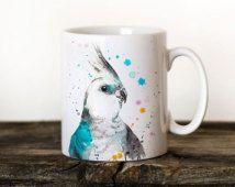 Perruche calopsitte Mug aquarelle céramique tasse Unique cadeau café Mug tasse…