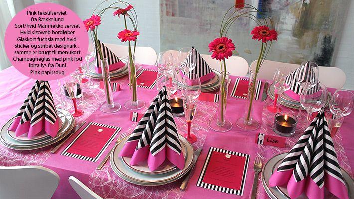 borddækning konfirmation sort og pink