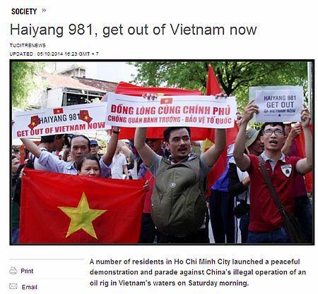 10日、ベトナム南部ホーチミンで行われた反中デモを伝える国営紙トイチェのニュースサイト ▼10May2014時事通信|ベトナムで反中デモ=国営紙も異例の報道 http://www.jiji.com/jc/zc?k=201405/2014051000317 #against_China #Demonstration #street_protest #Ho_Chi_Minh_City