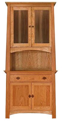 Cherry Moon Small China Cabinet and Sideboard. Features two glass plated doors, one drawer, and lots of underspace storage. Made with natural cherry hardwood in Vermont.
