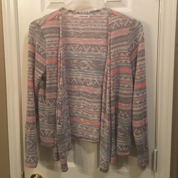 Aztec print cardigan Aztec print cardigan. Only worn once. Pet free, smoke free home. Maurices Tops