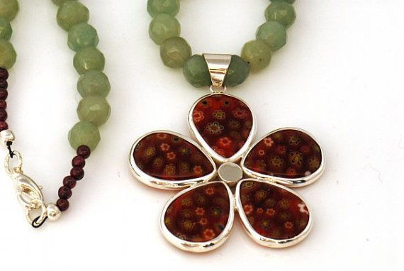 Garnet, Jade beaded Necklace with Sterling Silver Dichoric Glass Flower Pendant