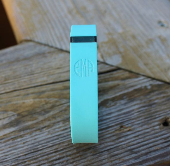 Monogrammed (Two or Three Letters) Laser Engraved Fitbit Wristband Replacement - Tracker NOT Included - with Plain or Engraved Clasp