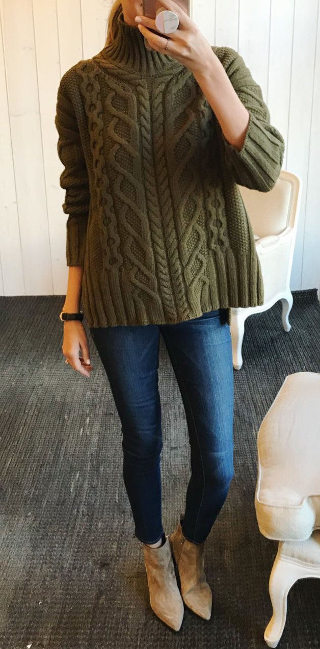 #winter #outfits women's green cable-knit sweater. Click To Shop This Look.