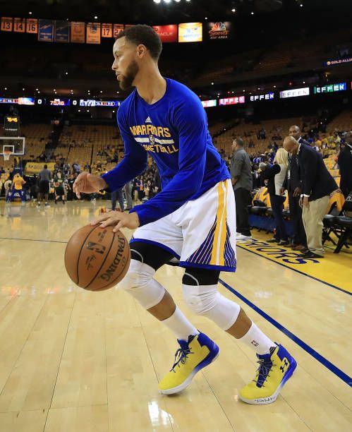 Stephen Curry of the Golden State Warriors warms up prior to Game One of the NBA Western Conference SemiFinals against the Utah Jazz at ORACLE Arena...