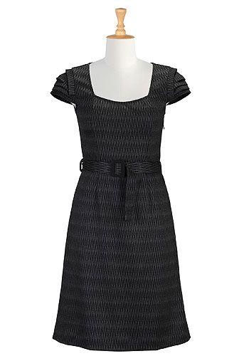 Pleated sleeve wool blend dress from eShakti
