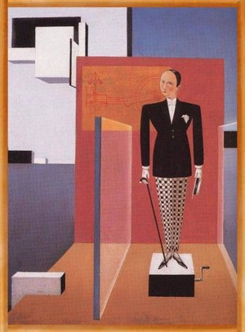 "Bortnyik Sandor. (1893-1976) ""The New Adam."" 1926.  Hungarian post-impressionist. This work was done while in the Bauhaus in Wiemar. Style shows the influence of Mondrian and Oskar Schlemmer"