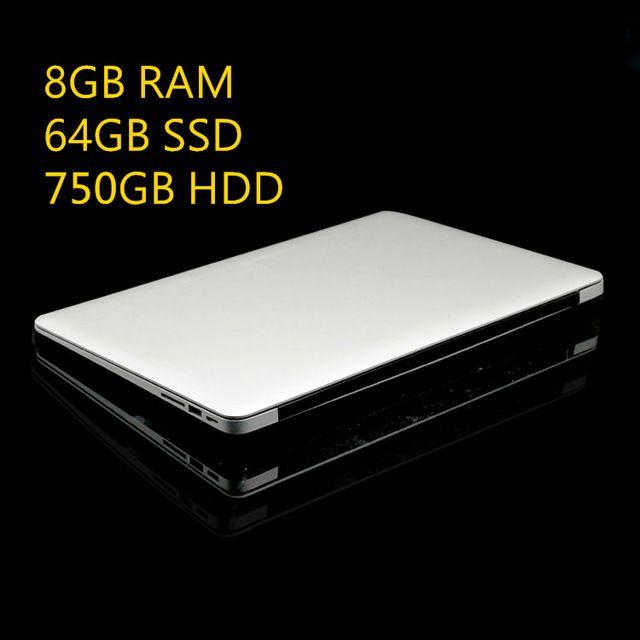 8 ГБ Ram + 64 ГБ SSD + 750 ГБ HDD Ультратонкий Quad Core J1900 Быстрый Запуск Windows 8.1 система Ноутбук ноутбука, бесплатная доставка
