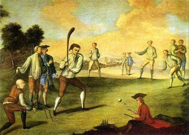 Cricket on the Artillery Ground, Finsbury, 1743.  This painting shows men playing cricket at Finsbury in London. By the 18th century cricket was a popular game that was well supported by the landed gentry of England, as can be seen by the two well-dressed gentlemen on the field.  Bowling at that time was underarm, the wicket had two stumps and the ball was white (over 200 years before white balls were reintroduced ). The scorer kept account of the runs with notches on a piece of wood.