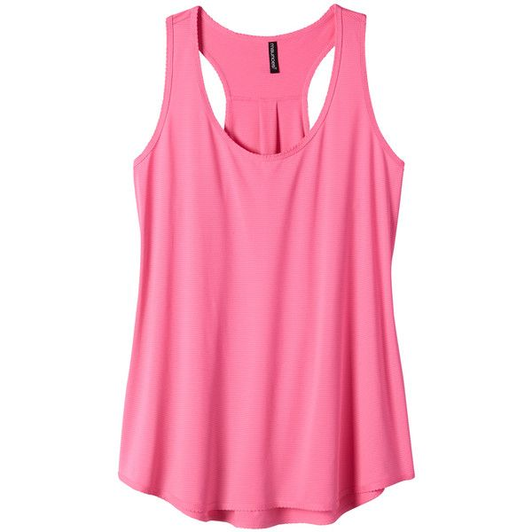 maurices Plus Size - Pink Mesh Racerback Performance Tank ($25) ❤ liked on Polyvore featuring activewear, activewear tops, pink flash, tops, plus size, plus size sportswear, pink sportswear, women's plus size activewear, maurices and plus size activewear