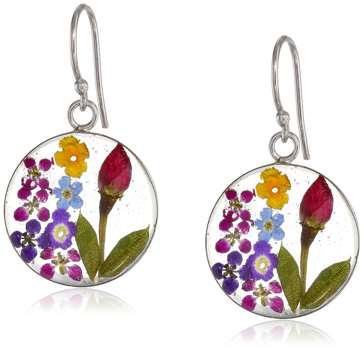 Sterling Silver Multi-Color Pressed Flower Circle Drop Earrings:
