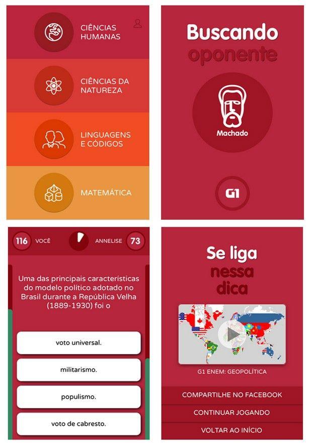 App G1 Enem desafia candidato com jogo de perguntas e dicas em vídeos Aplicativo está disponível para os sistemas operacionais IOS e Android. Jogo tem centenas de perguntas nas quatro áreas do Enem.