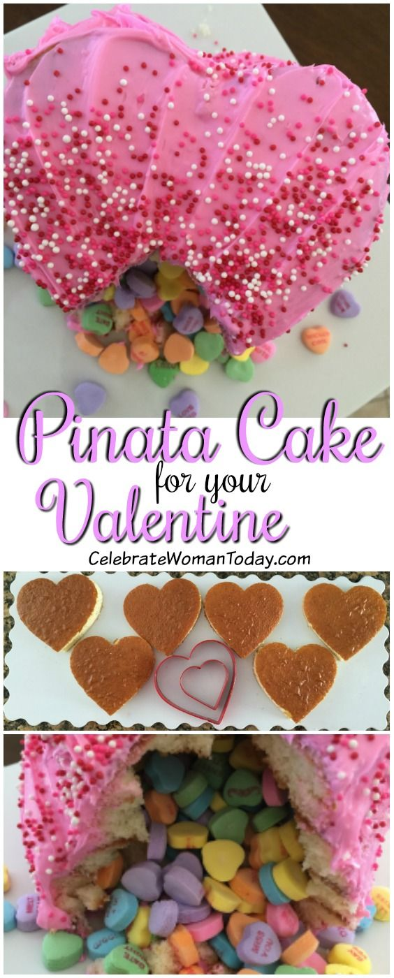 Easy Valentine Pinata Cake Recipe. This #ValentinesDay Dessert is so colorful and creative, you will put a huge smile on your Valentine's face! #HeartThis #recipeideas #cakerecipes