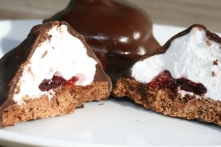 Chocolate Marshmallow Raspberry Cookie Delights!!!  Yes please!!!