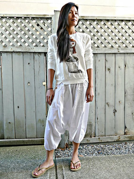 White Colour Short Harem Pants #fashion #shopping #harempants #joggers #style #love