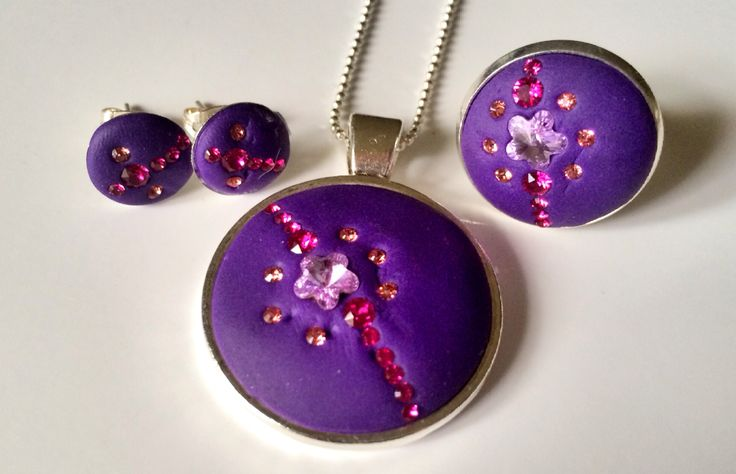 Swarovski + polymer clay jewelry set