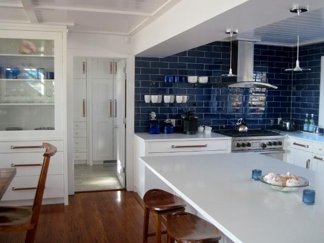 Deep Blue Kitchen Tile Backsplash. White Planked Ceiling