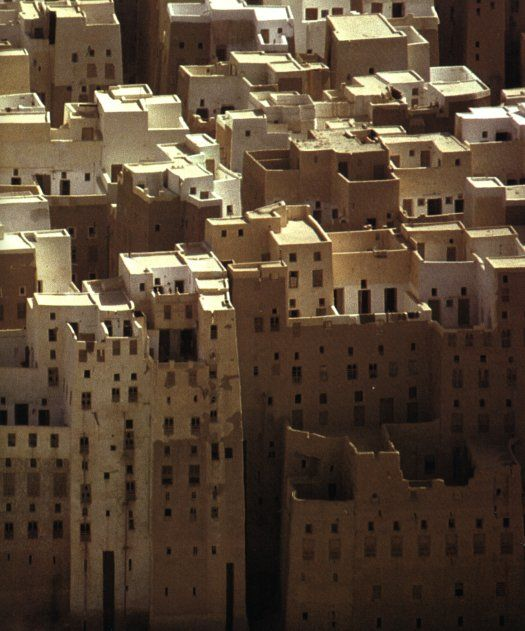 Shibam (the oldest skyscraper city in the world), Yemen - known for its up to nine floors high residential buildings built of dried bricks made of clay.