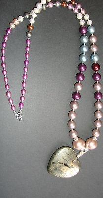 Pyrite Heart and Pearl Loooooong Pendant