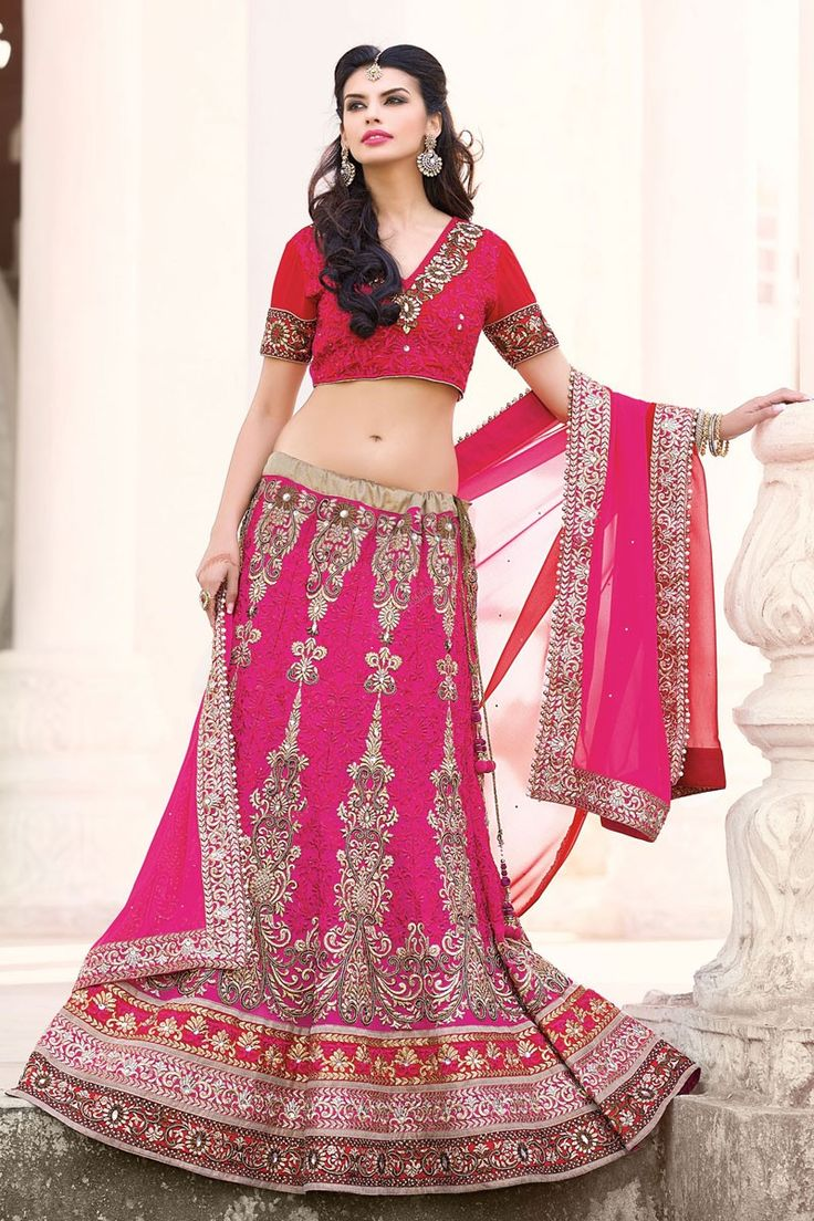 Bridal Lehenga Choli Collection presented by Andaaz Fashion like Pink Art Silk Georgette Lehenga Choli with Maroon Dupatta. Embellished with Embroidered, Patch, Resham, Stone, Zari, V Neck Blouse, Short Sleeve. This is perfect for Wedding, Bridal, Ceremonial.  http://www.andaazfashion.us/womens/lehenga-choli/fabric/georgette-lehenga-choli