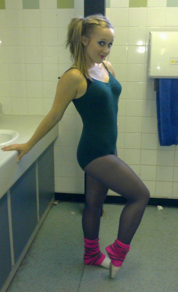 Black leotard and tights