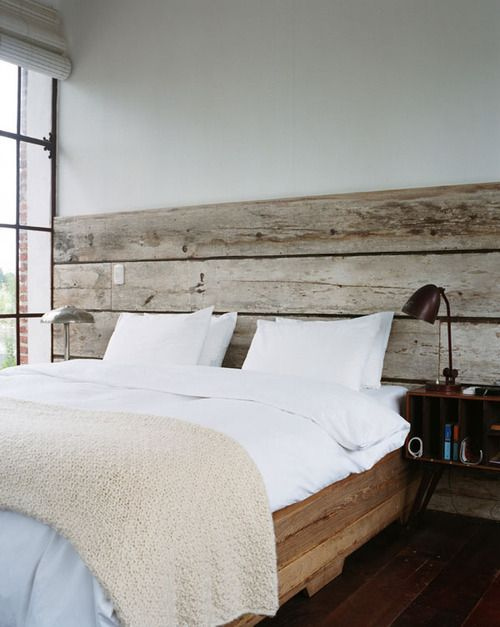 reclaimed wood wall/headboard