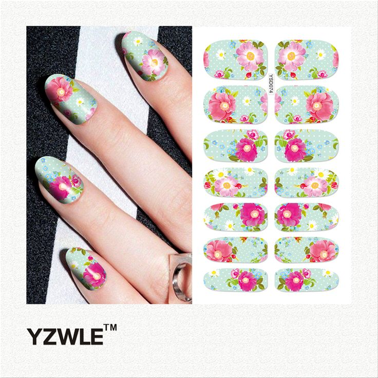 YZWLE 1 Sheet DIY Decals Nails Art Water Transfer Printing Stickers Accessories For Manicure Salon (YSD074)