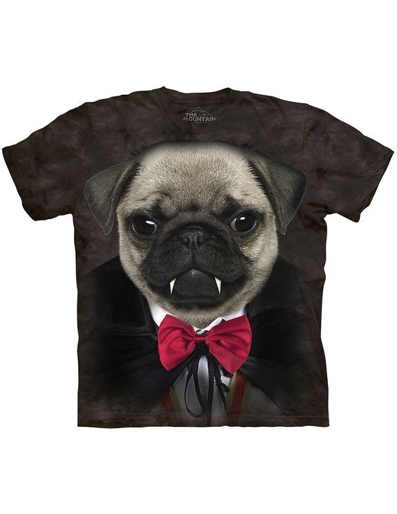 Vampire Pug with Fangs T-Shirt, Halloween Attire For Dog Lovers