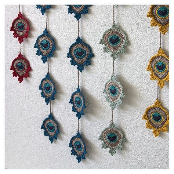 Crochet Peacock Feather Motif Garland by TheCurioCraftsRoom