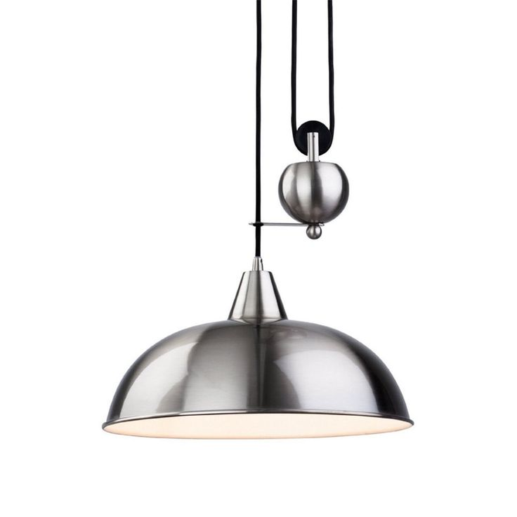 Modern Vintage Century Pendant Chrome Pulley Lamp Rise And