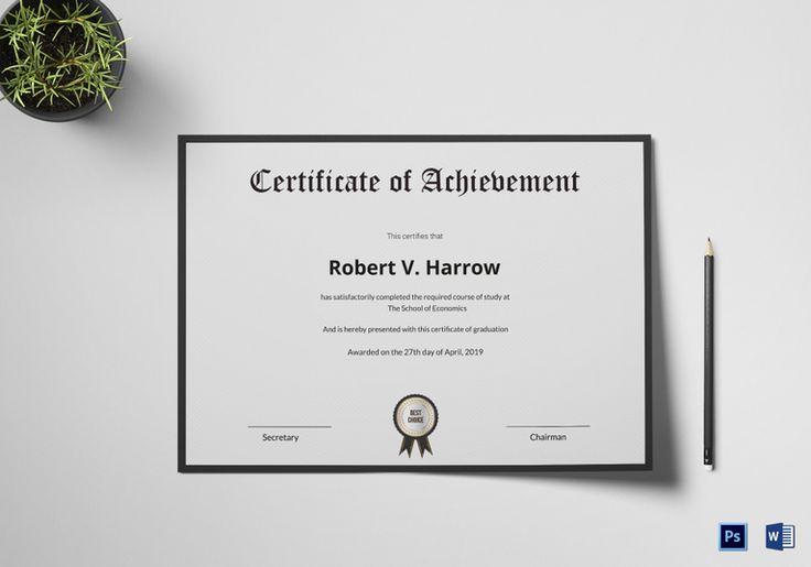 Graduation Achievement Certificate Template  $9.99  Formats Included : MS Word, Photoshop  File Size : 11.69x8.26 Inchs #Certificates @Certificatedesigns #educationcertificates