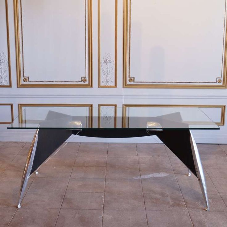 Black and Steel Desk with Glass Top | From a unique collection of antique and modern desks and writing tables at https://www.1stdibs.com/furniture/tables/desks-writing-tables/