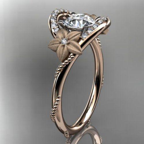 14kt rose gold diamond unique engagement ring,wedding ring ADLR166 | AnjaysDesigns - Jewelry on ArtFire