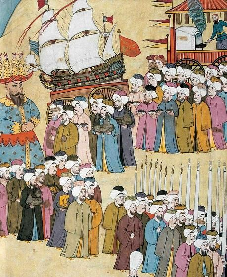 Ottoman spice makers-salesman ceremony during a festival. Source: Levnî, Surnâme, Topkapi Palace Museum Library, A 3593.