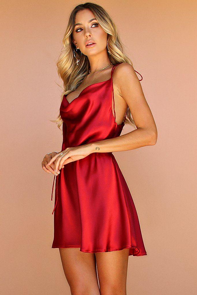 Raspberry Silk Lottie Bow Slip Mini Dress Pink Amp Red