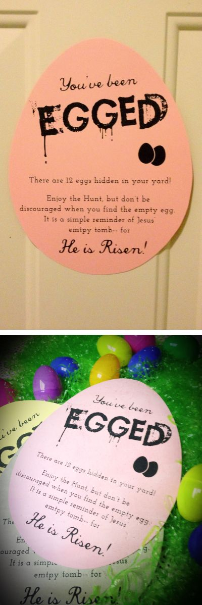Free Printable... Post on a friend or neighbor's door and hide eggs, a great reminder of what Easter is all about! So cute!