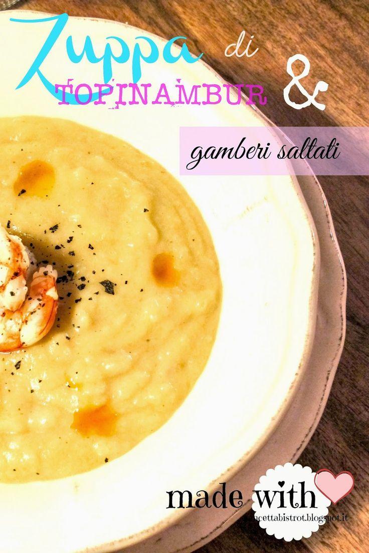 Pancetta Bistrot - Zuppa di topinambur e gamberi saltati
