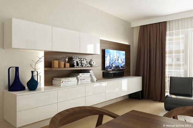 Amenajare de living in stil contemporan - linii drepte curate, mobilier cu suprafata neteda, lucioasa si culori neutre