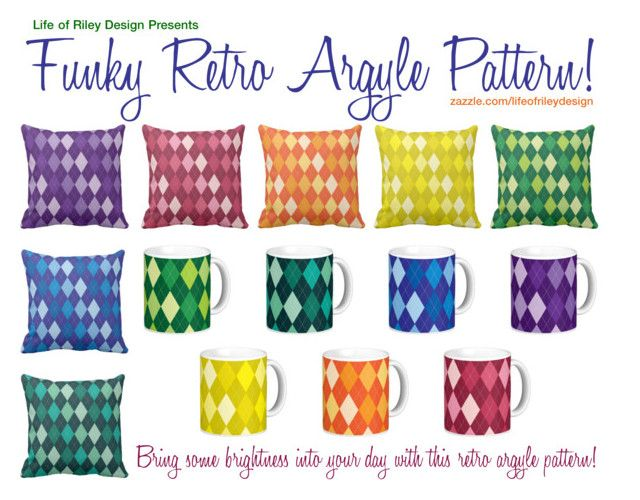 """Funky Retro Argyle Pattern"" by lifeofrileydesign on Polyvore featuring interior, interiors, interior design, home, home decor and interior decorating"