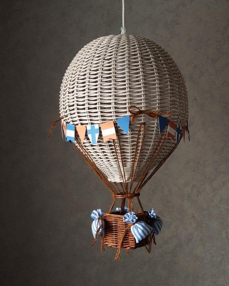 Night Light Hot Air Balloon Wicker, Hot Air Balloon Lampshade