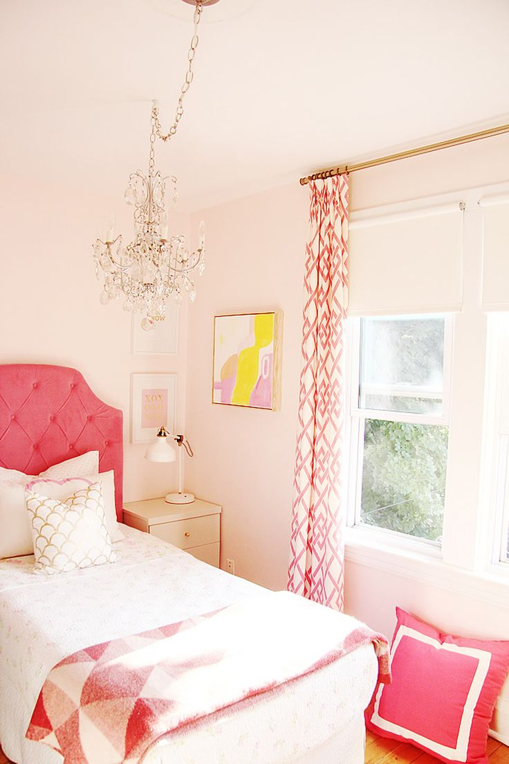 I like this color for the room, too. shabby chic little girls bedroom  (shabby chic quilt bedcover, get pink curtains, crochet a cute blanket for  the end of ...
