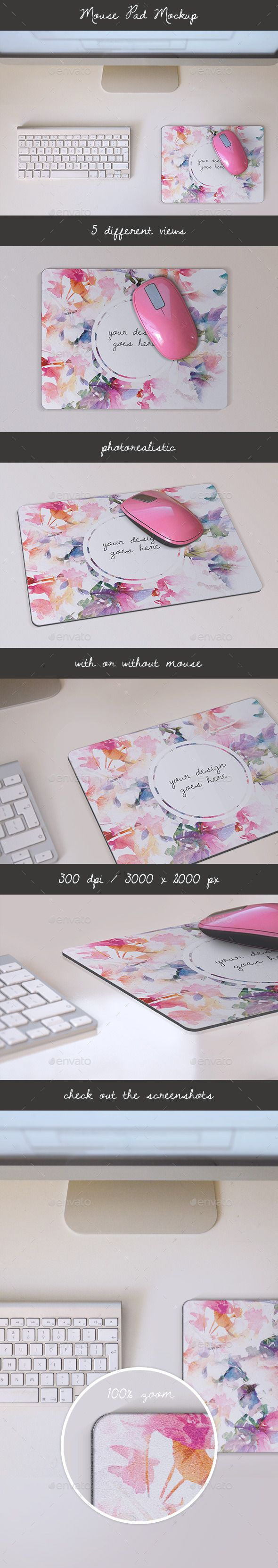 Photorealistic Mouse Pad Mockup. A set of elegant visual elements that will enhance your project to make it further visually appealing. The mockup set allows you to seamlessly place your design into a photo-realistic Mouse Pad Mockup.  - 1 PSD file with 5 different views, - Smart Objects - 3000×2000 px - 300 DPI,  - detailed,  - you can easily turn on/off visibility of the mouse , - perfect to present your mouse pad design.