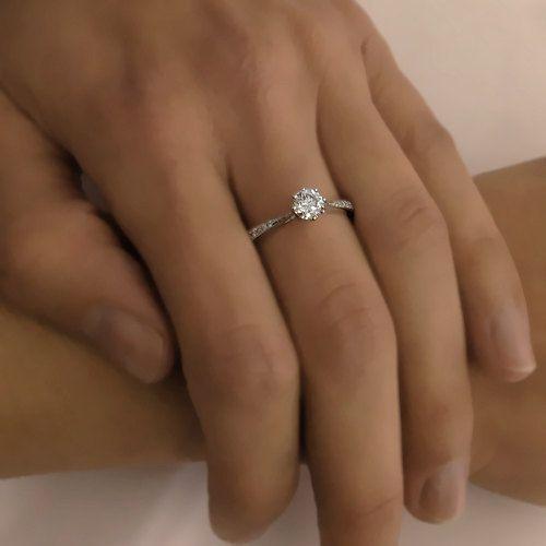 Damen Diamant Ring 14kt Weißgold Verlobungsring von Love Diamonds auf DaWanda.com