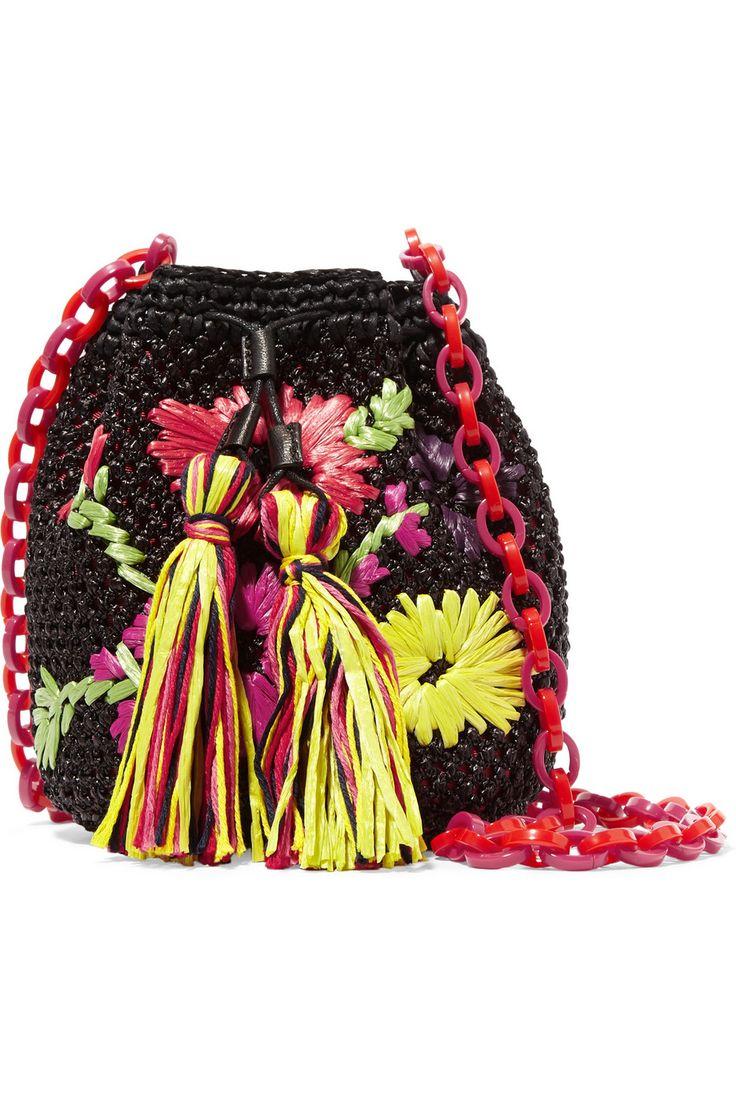 M MissoniEmbroidered raffia shoulder bag