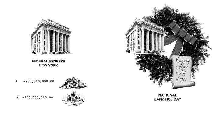 Federal Reserve Bank of New York at the end of the Day lost over $200,000,000 in gold through wire transfers, gold earmarking, and exports and $150,000,000 in currency.  Decided they needed drastic measure of calling National Bank Holiday. Drafting of the Emergency Banking Act of 1933.